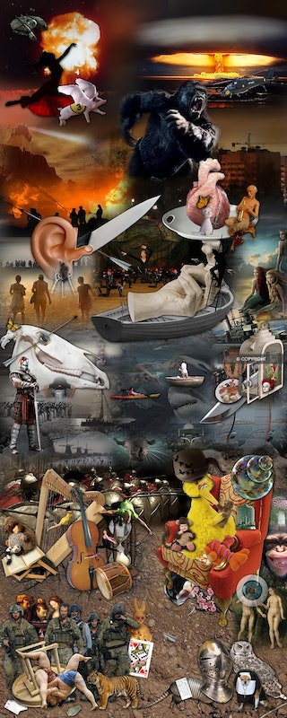 Homage to Hieronymous Bosch - Found images assembled into digital collage. Based on third panel of 1500's artist Bosch's Garden of Earthly Delights'. Modern...