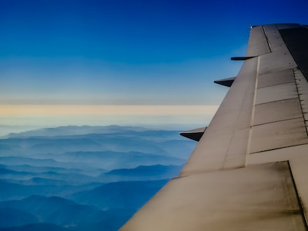 Mists of Mountains - Another journey, another window seat. Organic nature vs straight lined machine.