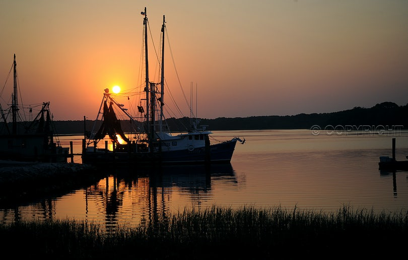 Skull Creek sunset - Shrimp boat on Skull Creek, Hilton Head Island, SC.