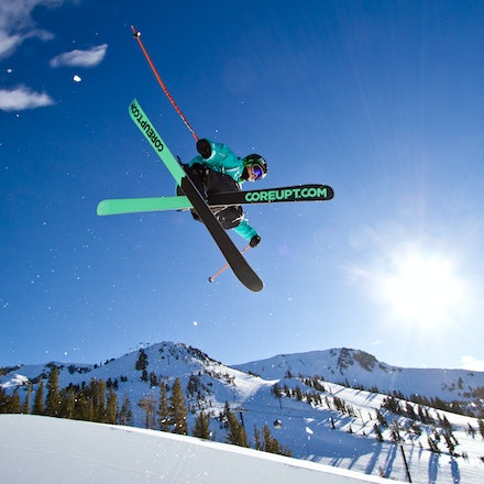 Mammoth Mountain Halfpipe - Mammoth Mountain freestyle ski team athlete getting out of the half-pipe on beautiful sunny day at mammoth Mountain (California)....