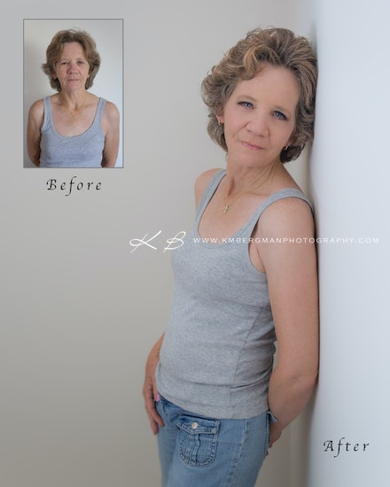 Before-and-aftere - Before and After from Ros's glamour portrait session in our Edens Landing, Logan City studio.