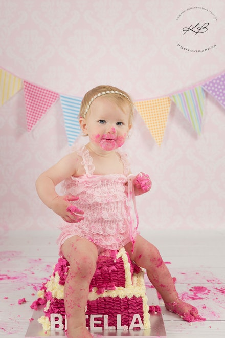Cake Smash Portraits - Colourful Cake Smash images by Logan City Photographer Kerry Bergman, captured in her Edens Landing Studio
