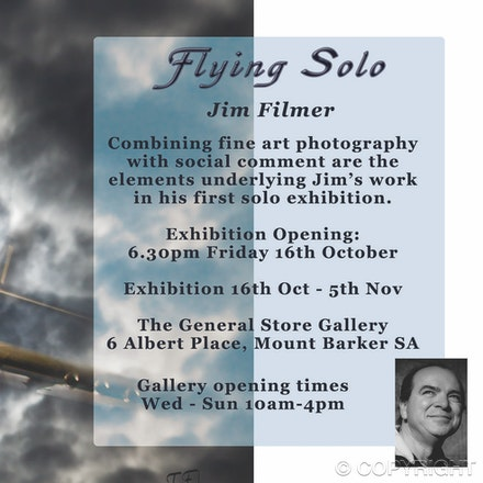 flying solo postcard - DL card created for inaugural exhibition