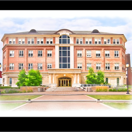 8x10.Jesse_Phil_Hum_Cntr2430_Paint3386 - Photos by Campus Photos USA. (Digital Watercolor Effect) The Jesse Philips Humanities Center was constructed in...