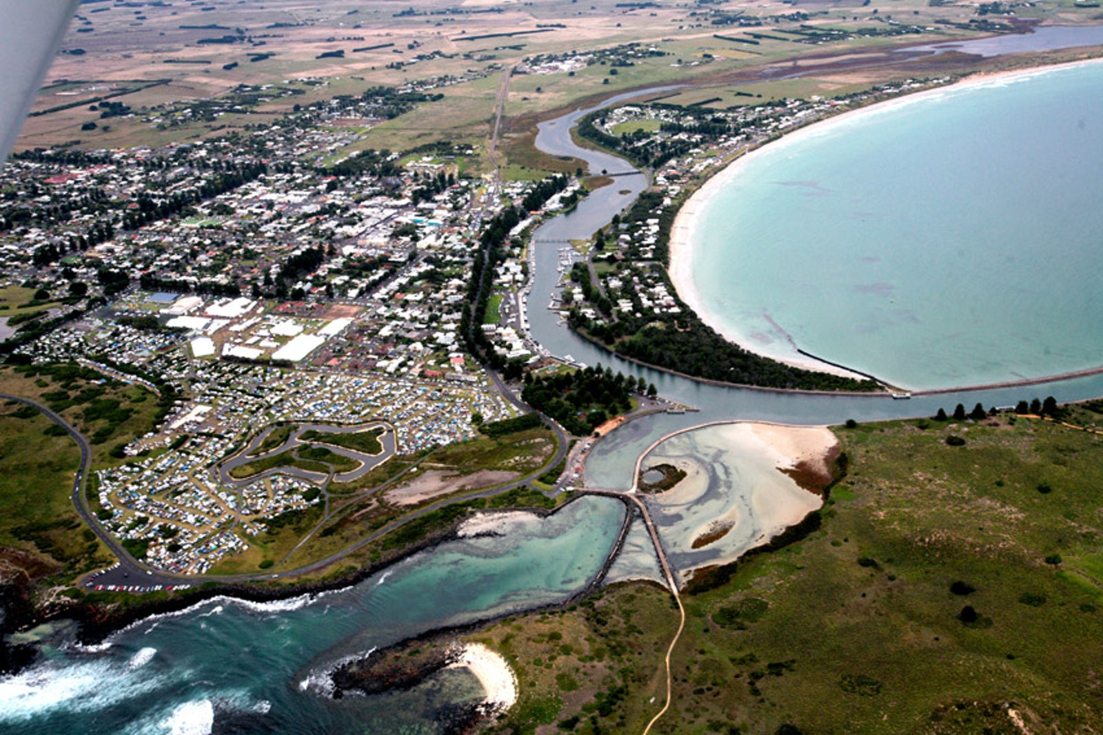 From the air. - Port Fairy from a small plane during its world renowned Folk Festival.