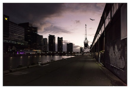 North Wharf at Dusk - The juxtaposition between grit and glamour down by the Yarra River. Priced from $15 for standard lustre print or $35 for museum grade...